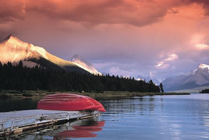 image of a mountain lake at sunrise
